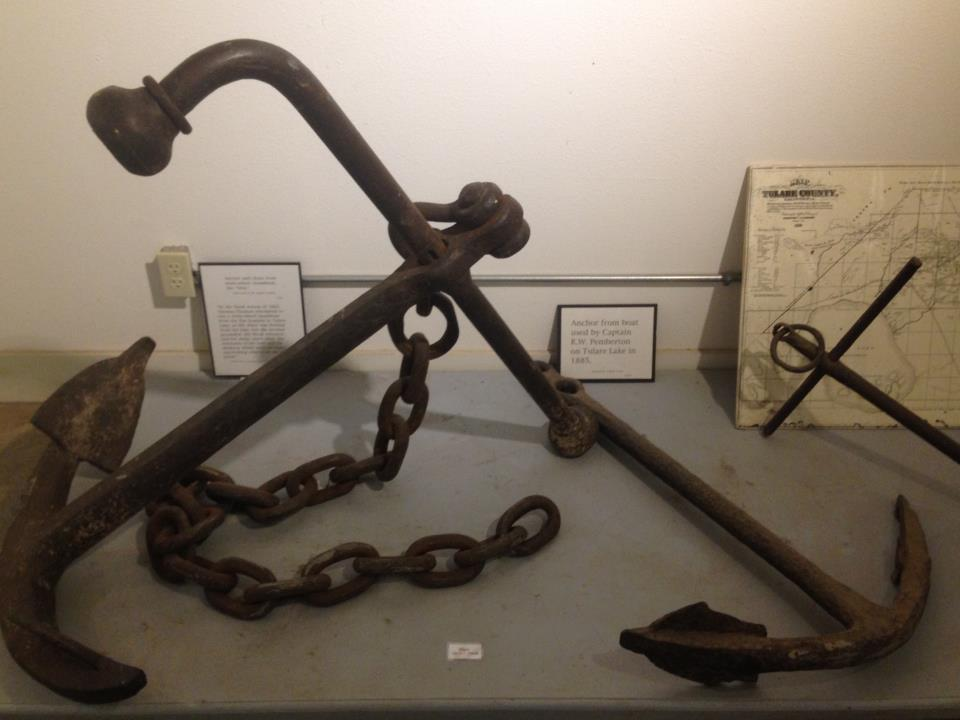 "Anchor and chain from the Stern Wheel Steam boat ""Alta"". Smaller anchor on the right was used in the Tulare Lake."