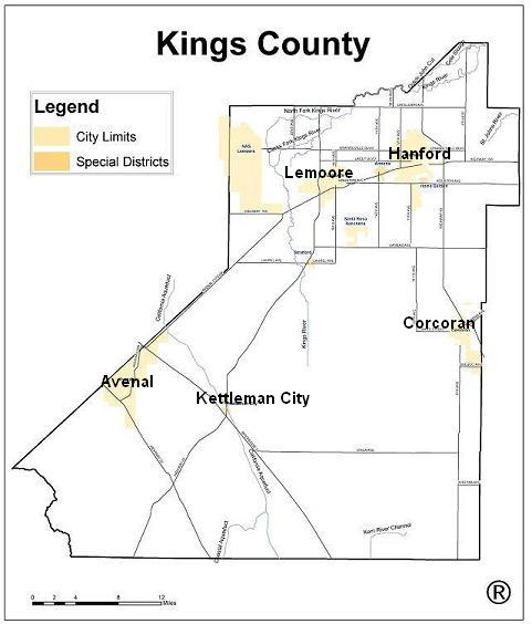 map of Kings county Border