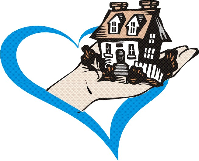 a hand holding a house with a blue heart around it