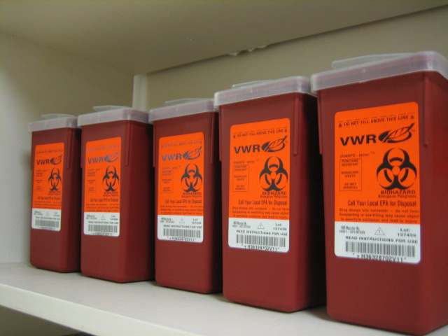 red medical bio hazard waste container